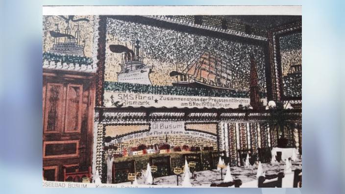 """Historische Muschelbilder aus dem Hotel """"Schloss am Meer"""""""
